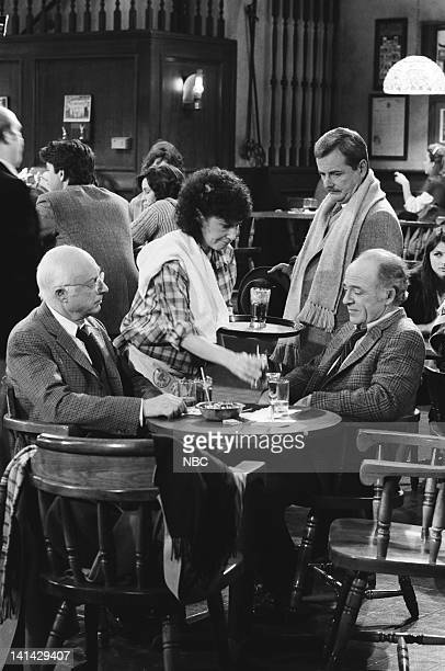 "Cheers"" Episode 24 -- Pictured: Norman Lloyd as Dr. Daniel Auschlander, Rhea Perlman as Carla Tortelli, William Daniels as Dr. Mark Craig, Ed..."