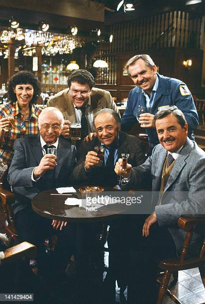 """Cheers"""" Episode 24 -- Pictured: Rhea Perlman as Carla Tortelli, George Wendt as Norm Peterson, John Ratzenberger as Cliff Clavin Norman Lloyd as Dr...."""