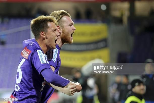 Cheers from Dominik Prokop of Austria Wien and Kevin Friesenbichler of Austria Wien during the Austria Wien v SK Puntigamer Sturm Graz - UNIQA OeFB...