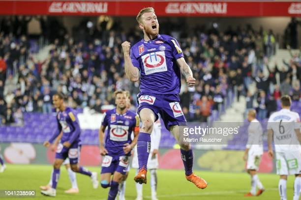 cheers from Kevin Friesenbichler of Austria Wien during the Austria Wien v SK Puntigamer Sturm Graz UNIQA OeFB Cup at Generali Arena on September 26...