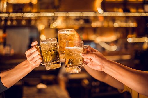 Cheers! Group, Beer mug, Young men brew beer glasses to celebrate their success. - gettyimageskorea
