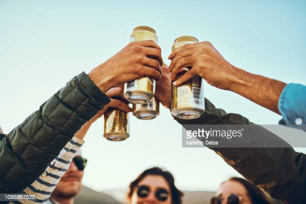cheers! - tin can stock pictures, royalty-free photos & images