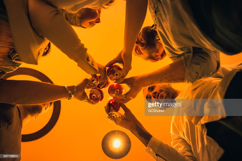 Cheers to Our Success! Group of friends having party. : Stockfoto