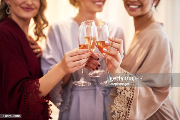 cheers to the bride - bridesmaid stock pictures, royalty-free photos & images