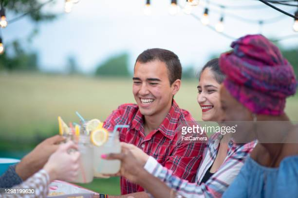 cheers to the summer, friends! - lemon soda stock pictures, royalty-free photos & images