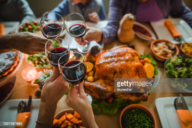 cheers to this great thanksgiving dinner! - feriado imagens e fotografias de stock