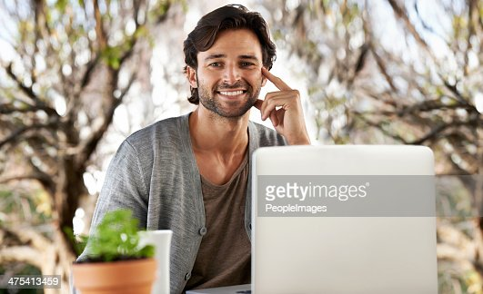 Cheery online morning : Stock Photo