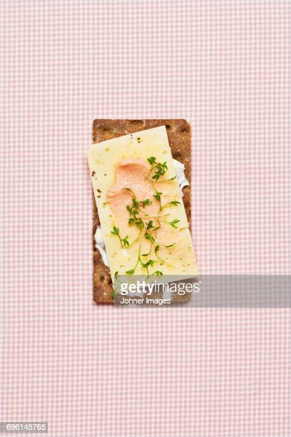 Cheese and cress on crispbread