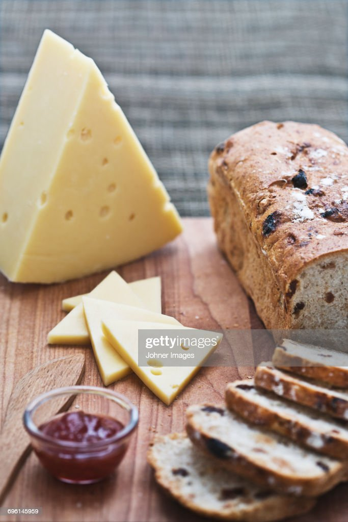 Cheese and fruit bread : Stock Photo