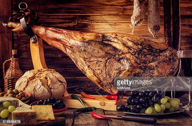 cheese and pata negra - serrano ham stock photos and pictures