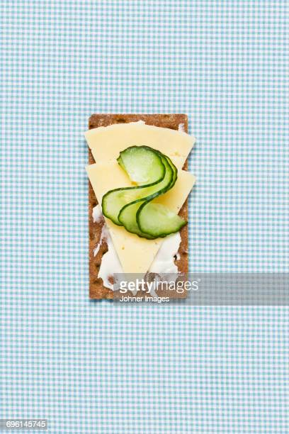 Cheese and pear slices on crispbread
