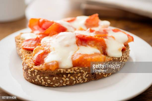 Cheese and tomato on toast