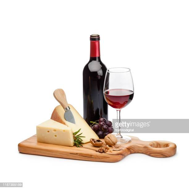 cheese and wine platter isolated on white background - french food stock pictures, royalty-free photos & images
