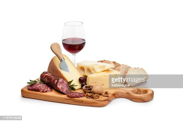 cheese and wine platter isolated on white background - cheese stock pictures, royalty-free photos & images