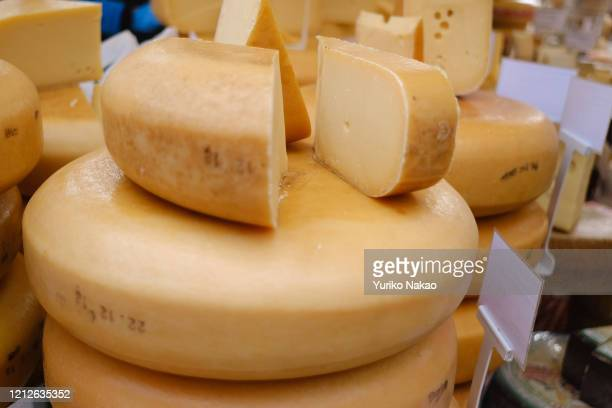 Cheese are pictured at an organic farmers market near Northern Church on March 14, 2020 in Amsterdam, Netherlands.