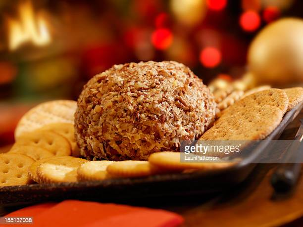 Cheese Ball with Crackers at Christmas Time