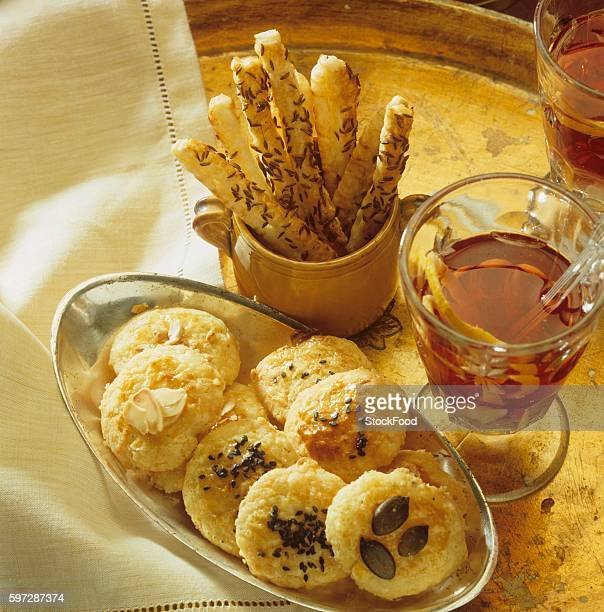 Cheese biscuits, cheese caraway sticks and hot punch