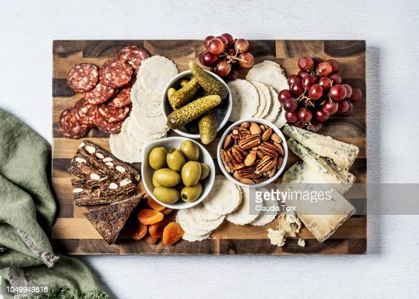 cheese board - salumeria stock photos and pictures