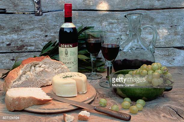 Cheese, Bread, Wine, and Grapes