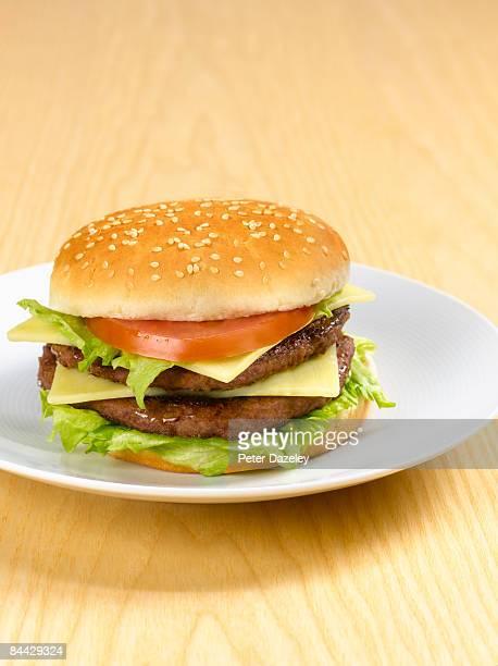 Cheese burger in sesame seed bun