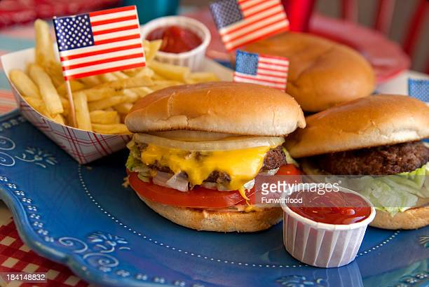 cheese burgers, barbeque hamburger, july fourth & labor day picnic food - labor day stock pictures, royalty-free photos & images