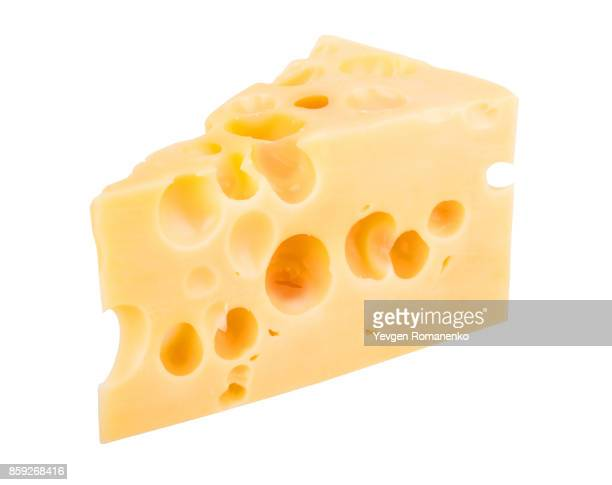Cheese chunk isolated on white background