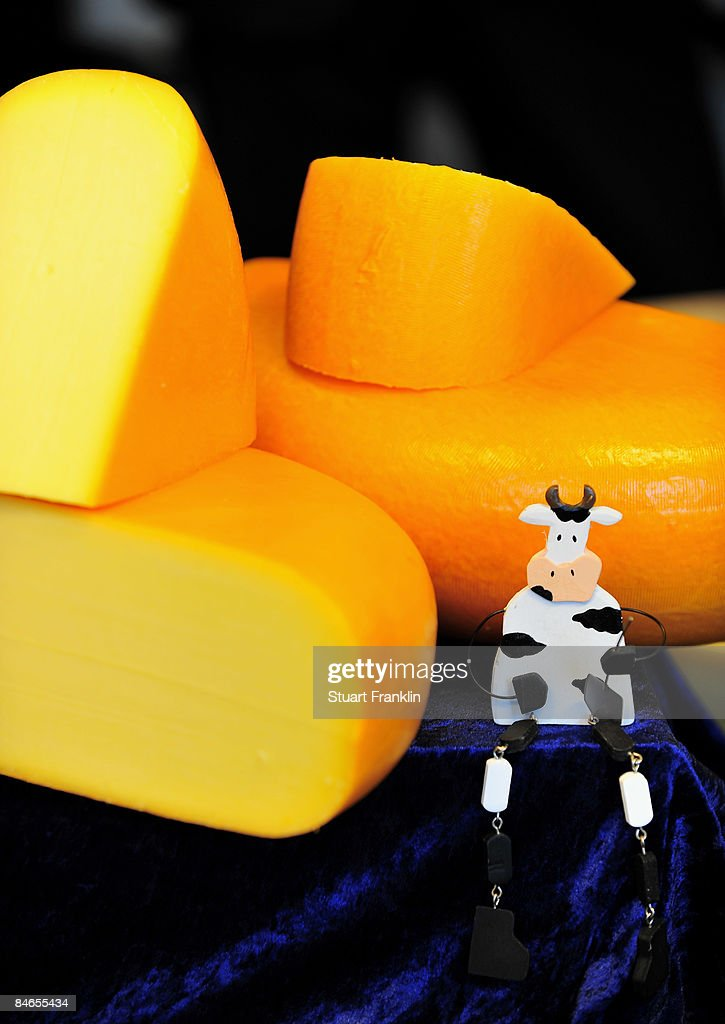 A cheese display at the cheese dairy Nordmilch on February 5, 2009 in Nordheckstedt, near Flensburg, Germany.