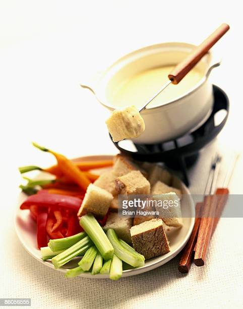 Cheese fondue appetizer tray