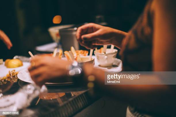cheese fondue in porcelain cups - french food stock pictures, royalty-free photos & images