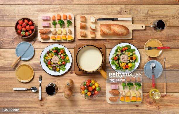 cheese fondue knolling style - knolling concept stock pictures, royalty-free photos & images