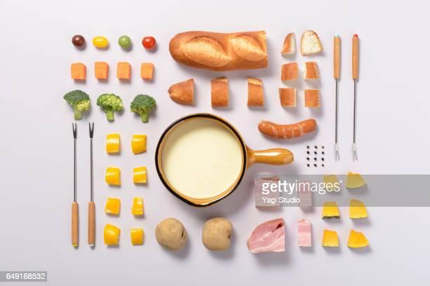 Cheese fondue knolling style