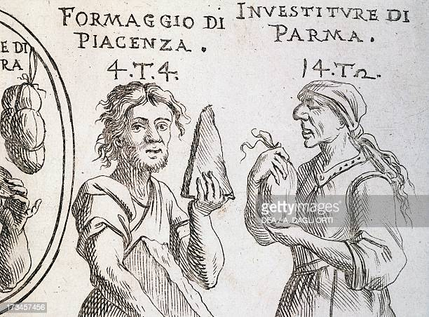 Cheese from Piacenza and Investiture from Parma cured salted pork sausage detail from the Game of plenty by Giuseppe Maria Mitelli engraving from...