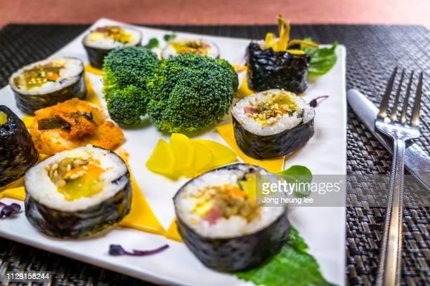 Cheese Gimbap and Kimchee, Broccoli