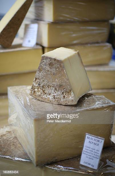 Cheese is displayed at Borough Market on February 7 2013 in London England Borough Market London's oldest since 1756 has recently completed...
