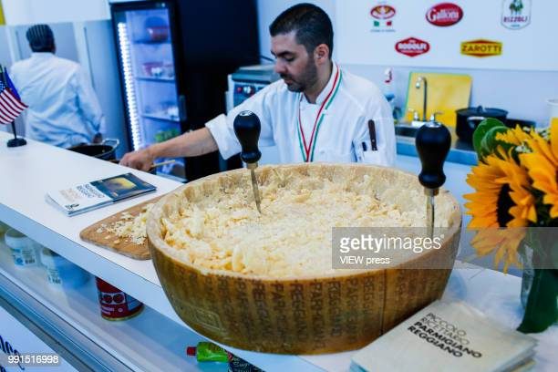 Cheese is offered for customers during The Summer Fancy Food Show at the Javits Center in the borough of Manhattan on July 02 2018 in New York The...