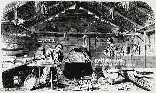 Cheese making engraving Italy 19th century