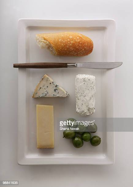 Cheese Plate with Bread, Olives, and Knife