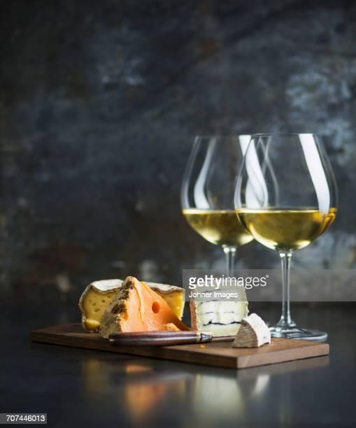 Cheese platter and white wine