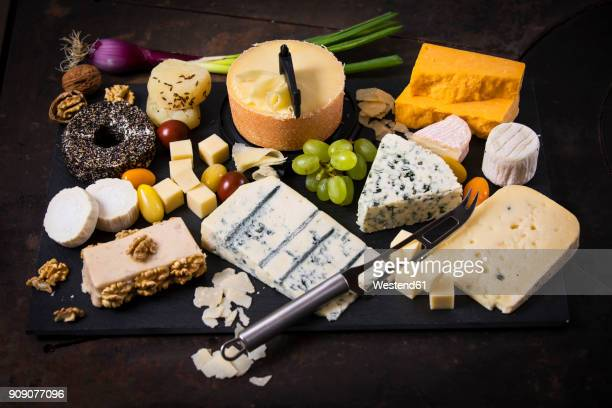 Cheese Platter, cheddar, tete de moine, gorgonzola, goat cheese, french sheep cheese, butter cheese, blue cheese, processed cheese with walnut, pepper cheese, hand cheese, gouda, parmesan