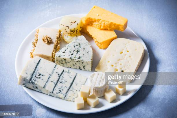 Cheese Platter, different sorts of cheese on plate