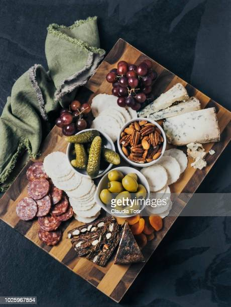 cheese platter - salumeria stock photos and pictures