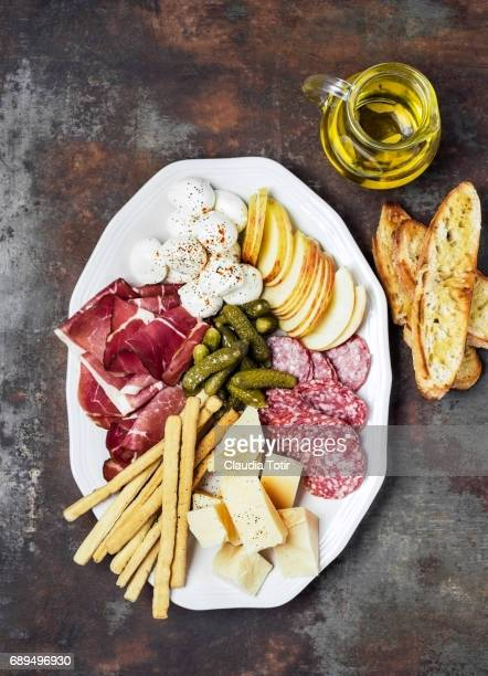 cheese platter - prosciutto stock photos and pictures