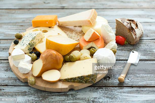 Cheese platter with different sorts of cheese