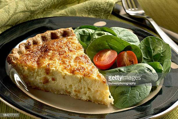 Cheese Quiche with spinach salad