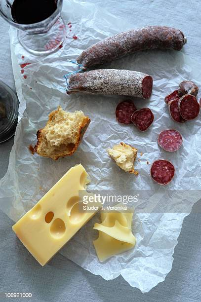 Cheese, sausage and wine