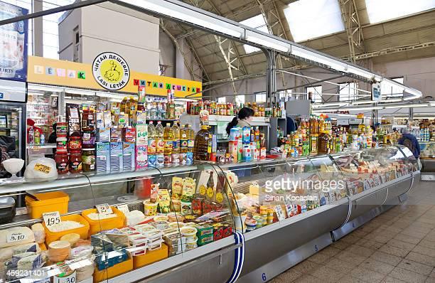 Cheese seller in Riga Central Market, Latvia