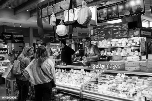 cheese stall at farmer's market in ardmore, pennsylvania - ardmore pennsylvania stock pictures, royalty-free photos & images