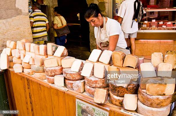Cheese stall at morning market in Annecy