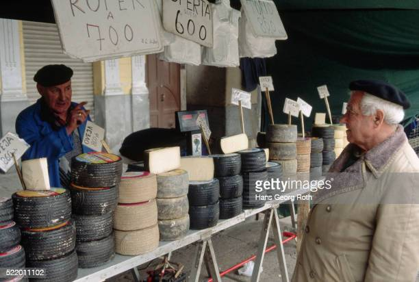 cheese stall at spanish market - oviedo stock pictures, royalty-free photos & images