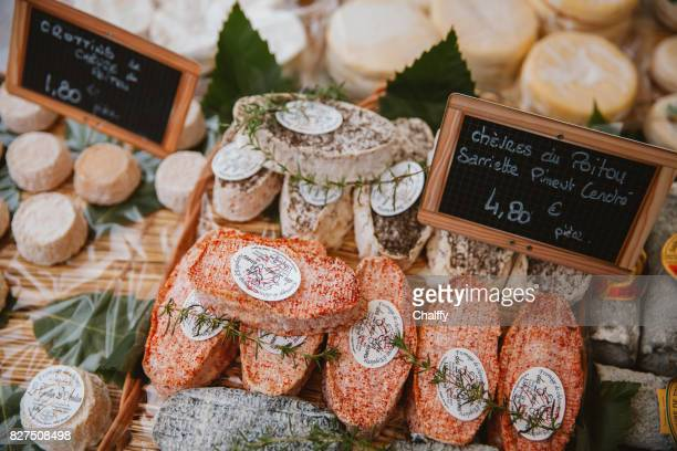 Cheese Stall in a Market of France